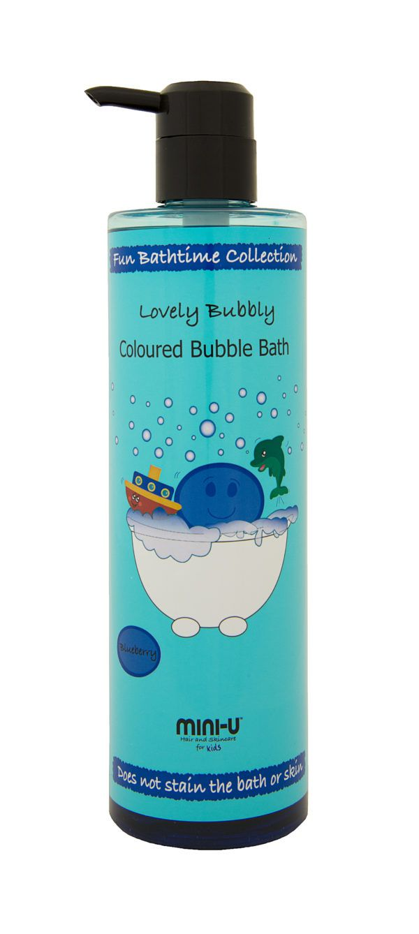View of a bottle of blue lovely bubbly coloured bubble bath with a black lid
