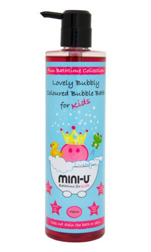 View of a bottle of watermelon lovely bubbly bubble bath for kids with a black lid