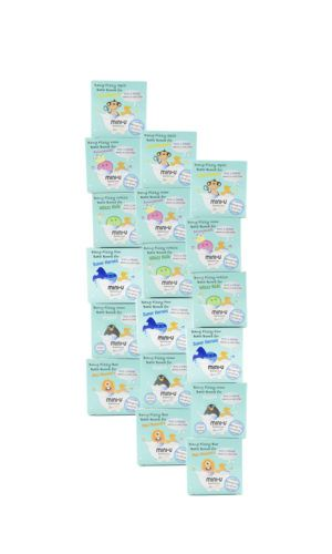 View of an 18 pack child friendly bath bomb set for kids in blue cardboard packaging