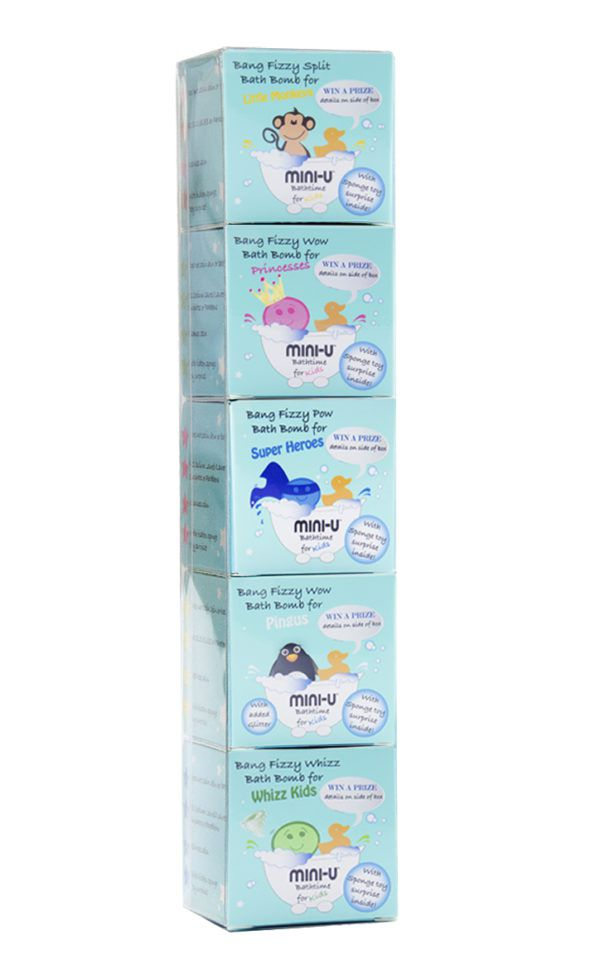 View of a blue 5 pack bath bomb gift set box including 5 different bath bombs for kids