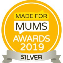 View of the Made for Mums 2019 logo featuring a yellow circle with black and white text