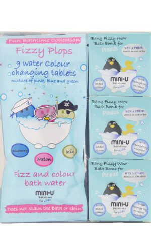 View of a bath bomb set for kids including three bath bombs and colour changing tablets