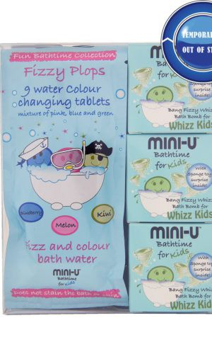View of a bath bombs for kids gift set with bath bombs and water colour changing tablets