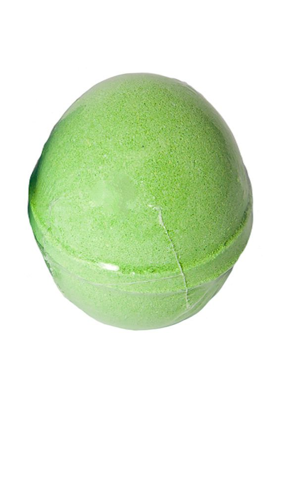 View of a green bath bomb wrapped in clear plastic packaging