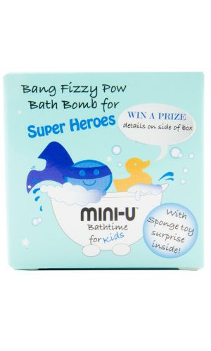 View of a bang fizzy pow bath bomb for kids in blue packaging