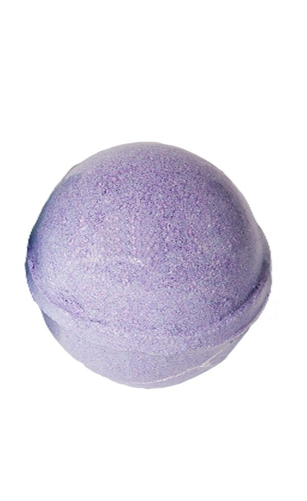 View of a single purple bath bomb for kids wrapped in clear plastic packaging