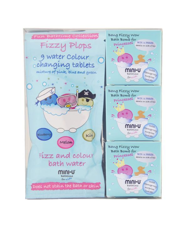 View of water colour changing tablets and three fizzy plop bath bombs in a giftset together