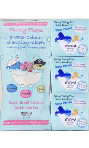 View of a super hero bang fizzy pow bath set including water coour changing bath tablets