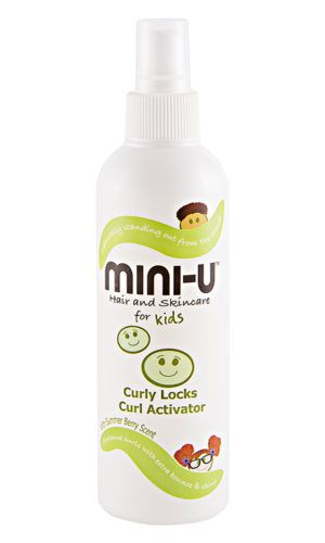 View of a bottle of curly locks activator in a white bottle with lime green designs