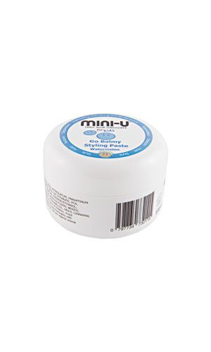 View of a white tub of go balmy stylinig balm for kids with the mini u logo on the lid