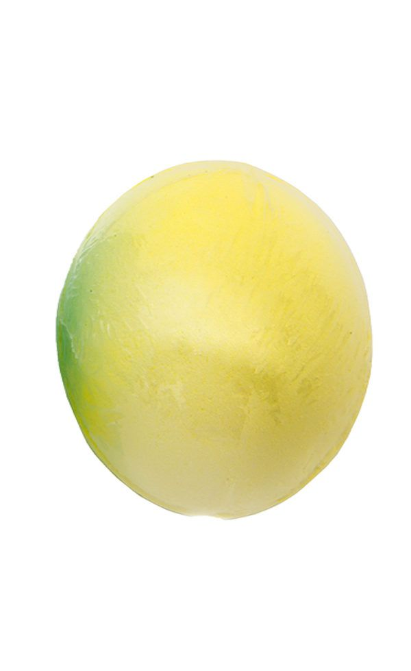 View of a single yellow coloured bang fizzy whizz bath bomb for kids