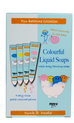 View of a packet of colourful liquid soaps with an image of the paints on the front