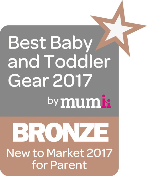 View of the best baby and toddler gear 2017 award logo with bronze prize underneath