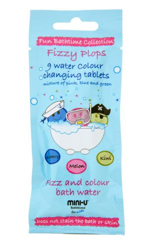 View of a packet of fizzy plops water colour changing tablets in melon, kiwi and blueberry