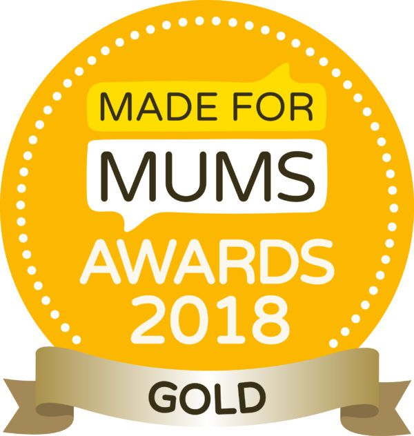 View of the made for mums gold award featuring white text on a gold circle