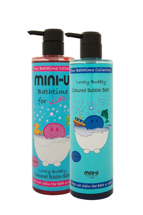 View of melon and blueberry lovely jubbly bubble bath bottles with black lids