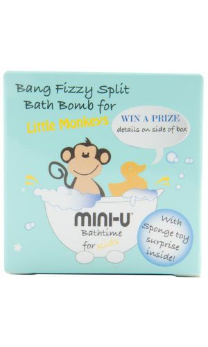 View of a single bang fizzy split bath bomb for little monkeys in blue packaging