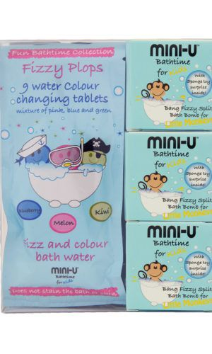 View of a multipack monkey set including three bath bombs and colour changing tablets