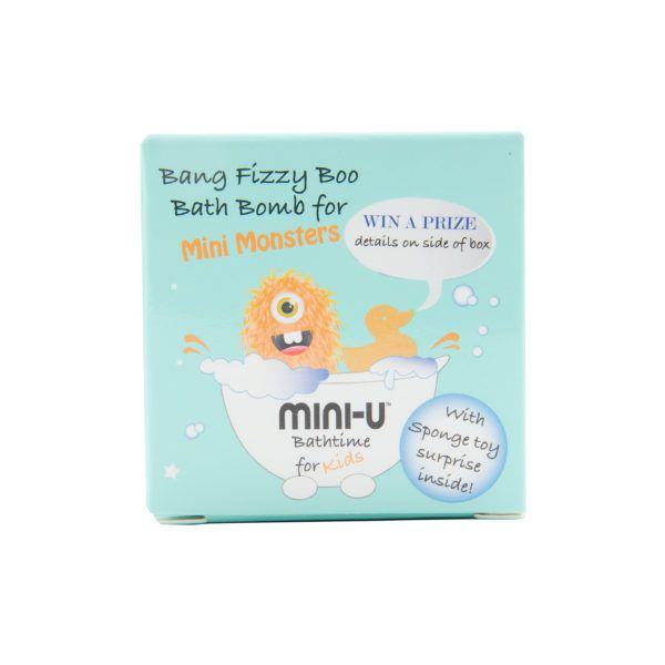 View of a single bang fizzy boo mini monster bath bomb in blue packaging