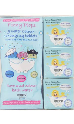 View of a fizzy plop bath bombs for kids giftset including water changing colour tablets