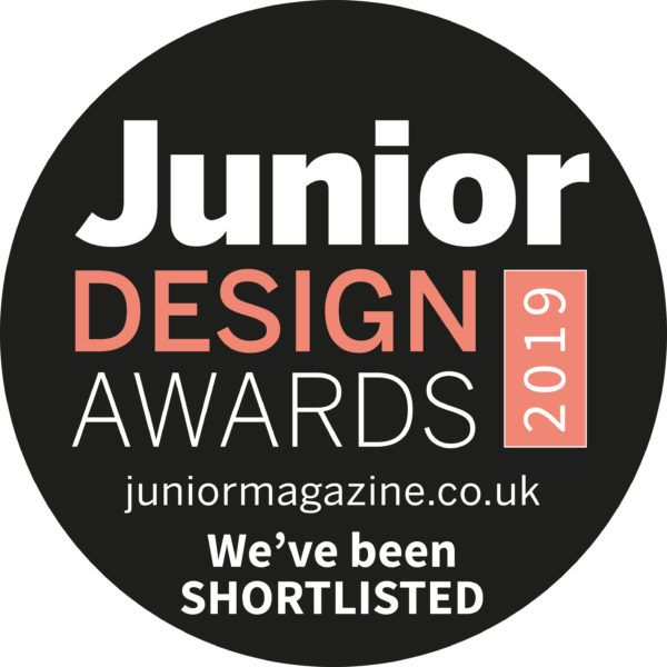 View of the junior design awards 2019 logo with red and white text on black logo