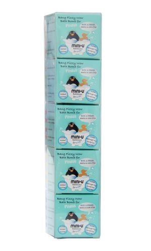 View of a multipack of 5 pingus bath bombs for kids with blue packaging