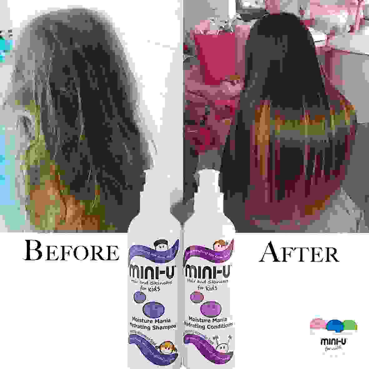 Before and after image of child's hair using shampoo and conditioner from Mini-U
